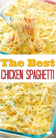 The Best Chicken Spaghetti recipe from The Country Cook #chicken #dinner #easy #recipes #ideas #pasta
