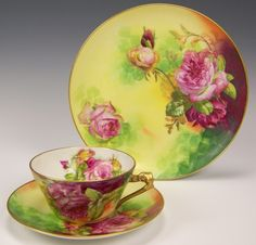 "Limoges Roses Trio Plate Cup Saucer ""Rancon"""