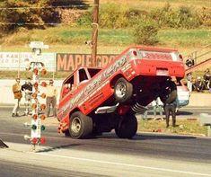 Former Backup Pickup. Funny Car Drag Racing, Sports Car Racing, Auto Racing, Jacked Up Trucks, Old Trucks, Old Race Cars, Kustom Kulture, Drag Cars, Unique Cars