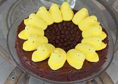 Sunflower peep using brownies for Easter desert