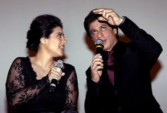 Bollywood actors Shahrukh Khan & Kajol Devgn at Maratha Mandir theatre to celebrate 1000 weeks of film Dilwale Dulhaniya Le Jayenge on (December 12, 2014) in Mumbai, India. SRK Kajol-starrer Dilwale Dulhaniya Le Jayenge was first screened at Maratha Mandir in October 1995.