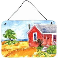 Caroline's Treasures Old Red Cottage House At the Lake or Beach by Coe Steinwart Painting Print Plaque