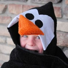 Perfect for January-a penguin hooded towel!