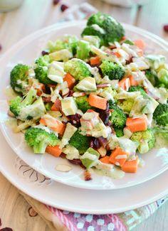 Warm Broccoli Salad with Skinny Green Goddess #fresh #healthy