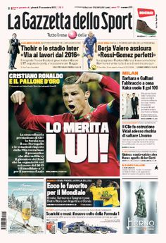 #PrimeraPlana @L a Gazzetta dello Sport El balón de oro? Ronaldo.