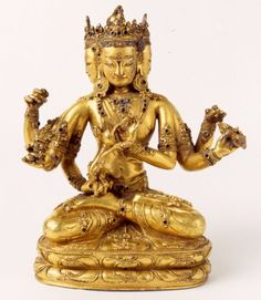 15th century, Tibet, gilt copper alloy inlaid with stones, private collection