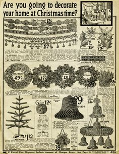 vintage christmas printable, old catalogue page, antique holiday decorating image, old fashioned christmas decoration, 1916 sears xmas
