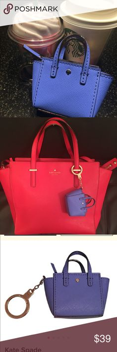 NWOT KATE Spade Saffiano Mini keyring NWOT Beautiful Miniaturized Saffiano Leather Handbag...This cutie is New Dual purpose kate spade keychain/Coin Purse. It has the signature jacquard lining... see pic for details. kate spade Accessories Key & Card Holders