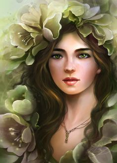 "Part of the ""Eyes of Gems"" series; this one is for ""Peridot"" Her comp design is inspired by the flower Hellabore, one of the only plants to flower in Wi. The Girl With Peridot Eyes Fantasy Portraits, Fantasy Paintings, Character Portraits, Fantasy Girl, Fantasy Women, Art Pictures, Art Images, Photos, Colorful Drawings"
