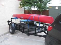 Kayak Buying Looking at buying a ft. utility trailer, and then putting a bar across it at both ends, kind of like a ladder rack to put my kayak on. Found a trailer plac. Kayak Boats, Kayak Camping, Canoe And Kayak, Kayak Fishing, Fishing Stuff, Truck Camping, Family Camping, Kayaks, Canoes