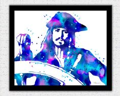 Jack Sparrow print purple blue pink Jack Sparrow painting