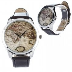 Math watch with black band unisex gift for a friendcolleague or find this pin and more on montres old world map wristwatch watch gumiabroncs Gallery