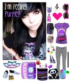 """""""Purple"""" by gee-way-3-way ❤ liked on Polyvore featuring Newbreed Girl, Topshop, Giorgio Armani, Manic Panic NYC, FRUIT, ASOS, Retrò, Hot Topic, Vans and emo"""