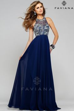 Faviana S7560 Exciting Crystal Bodice Gown