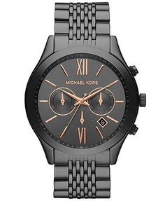 Michael Kors Watch, Men's Chronograph Brookton Gunmetal-Tone Stainless Steel Bracelet 45mm MK8318