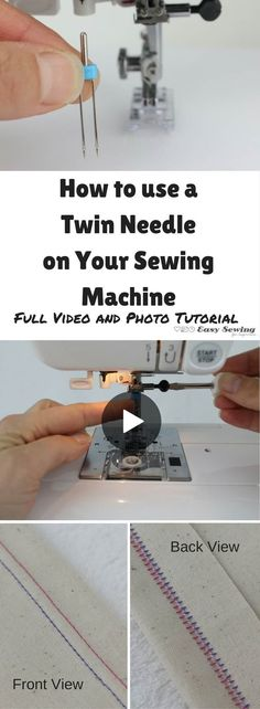 How to Use a Twin Needle [Video Tutorial] - Easy Sewing For Beginners - Sewing techniques - Sewing Tools, Sewing Hacks, Sewing Tutorials, Sewing Crafts, Sewing Ideas, Tutorial Sewing, Sewing Basics, Basic Sewing, Sewing Lessons