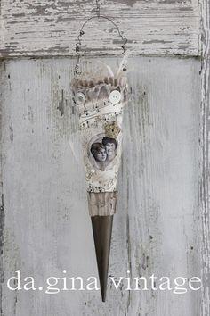 Deko-Objekte - Shabby Noten-Spitztüte mit Tüll und Mädchen-Motiv - ein Designerstück von da-gina bei DaWanda