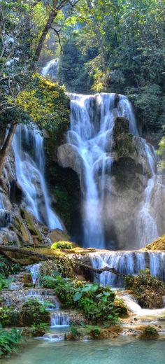 Kuang Si Waterfalls, is a three tier waterfall about 29 kilometres