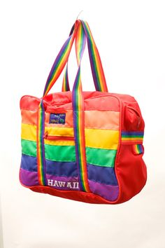 HAWAII Rainbow Tote Bag Laptop bag by VintageCommon on Etsy