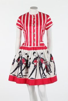 A printed cotton 'Beatles' dress, mid 1960s novelty print red white black