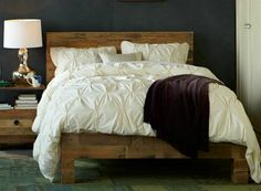 Knockout Knockoffs: West Elm Emmerson Bedroom Love the colors - a dark gray wall contrasted with pale bedding.