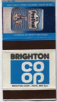 Matchbox from Hove Co-Op, Brighton Brighton And Hove, East Sussex, Wonderful Things, Personalized Items, History, Cards, Historia, Maps, Playing Cards