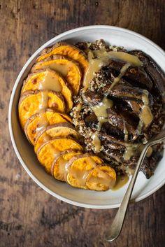 Chickpea Miso Gravy Bowl with Sweet and Tangy Portobello Mushrooms