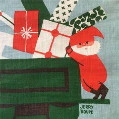 Julbonad av Jerry Roupe 50-tal Swedish Christmas, Scandinavian Christmas, Xmas, Christmas Table Cloth, Textiles, Christmas Design, Gnomes, Troll, Cloths