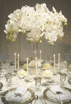 extraordinary white wedding decor ideas by Bobka Baby Winter Wedding Centerpieces, Orchid Centerpieces, Wedding Decorations, White Centerpiece, Centerpiece Ideas, Centerpiece Flowers, Church Decorations, Table Decorations, Marriage Decoration