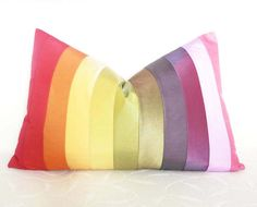 Rainbow Color Block Pillows Colorful Bright by PillowThrowDecor, $49.00
