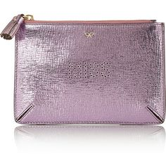 Anya Hindmarch Miss metallic textured-leather pouch ($235) ❤ liked on Polyvore featuring bags, handbags, clutches, purses, purple, anya hindmarch, zipper purse, zip pouch, purple handbags and pouch purse