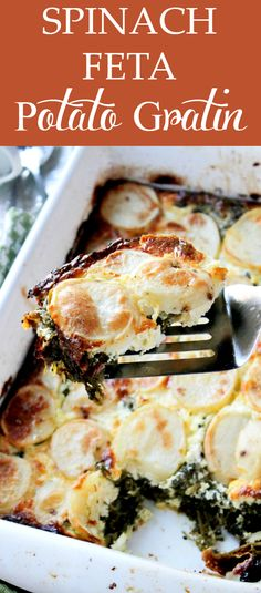 SPINACH FETA POTATO GRATIN - Layers of sliced potatoes filled with a delicious mixture of spinach and feta cheese. Our favorite dinner!