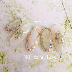 Pin by Lily Okamoto on Nails in 2019 Cute Nails, Pretty Nails, My Nails, Bridal Nails, Wedding Nails, Kawaii Nails, Japanese Nail Art, Fabulous Nails, Flower Nails