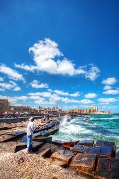 I miss the nautical scenes of Alexandria! Fisherman in Alexandria, Egypt