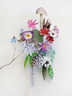 Anne Ten Donkelaar, Flower Constructions, 3D Collages From Pressed Flowers and Cut out Flower Pictures.