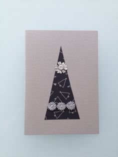 Handmade Christmas Card with Pressed Feverfew and Black Paper-Tree £3.00