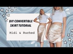 DIY RUCHED SKIRT & DIY SILKY MIDI SKIRT // How to make a ruched skirt for beginners tutorial - YouTube