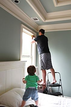 Tray ceiling, crown molding. Wow!