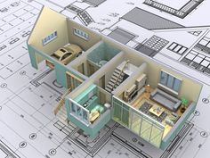Architecture, 3d Simple House Building Plan With Single Garage And Framed Glass Wall In Living Room And Teal Small Kitchen Cabinet: The House Building Plans to get the Successful House Construction Process