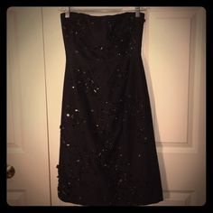 Beaded Gown Stunning black, strapless beaded gown. This dress is an absolute knock out! Only worn once. In brand new condition. The pics just don't do it justice. Make an offer! Maxazria Collection Dresses Strapless