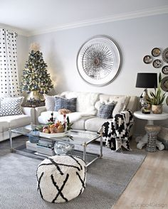 modern take on traditional European/German Christmas decor with lots of traditional German decor pieces and modern black and white accents