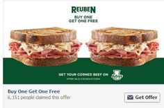 Saving 4 A Sunny Day: Free Reuben When You Buy One At Arby's