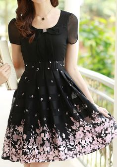 Bowknot Floral Print Short Sleeve Bodycon High Waist Dress