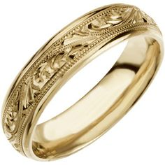14K Yellow Gold Size 8 Hand Engraved Wedding Band Ring Size 8.00