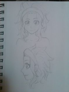 More Levy hair practice.  I used blanania's reference as a guide more so for the headband and her side fringe on the front view.  I've got it down pretty good.  I still don't know what to do with the details on the side view, I feel like its more to do with the coloring than the lines/lineart. I just feel like there's a lot of empty space between the headband and the back of the hair.