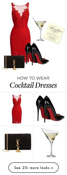 """dinner"" by supercubana on Polyvore featuring ML Monique Lhuillier, Christian…"