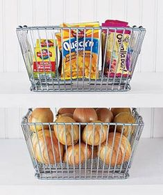 Make it a snap for kids to grab snacks on the go with see-through wire baskets.