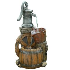 Found it at Wayfair - Old Fashion Polyresin Pump Barrel Fountain http://www.wayfair.com/daily-sales/p/Lawn-Decor-from-%2410-Old-Fashion-Polyresin-Pump-Barrel-Fountain~ACO1946~E18843.html?refid=SBP.rBAZEVQFTkFM8h00LEFAAi5NZprQokfeogANSg7tdZk