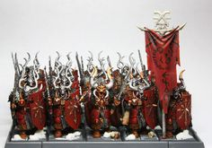 Very cool chaos warriors conversion. Would make a great Khorne Chosen unit. Not my work, but something I may one day mimic in my own Warriors of Chaos army.