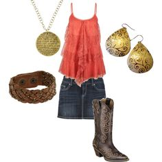 Just cause u wear this doesn't mean u a country chick it means u still got some yuppie in ya... Ur country by heart,mind,and soul . Not boots and Minnie skirts.. Alone at least .lol